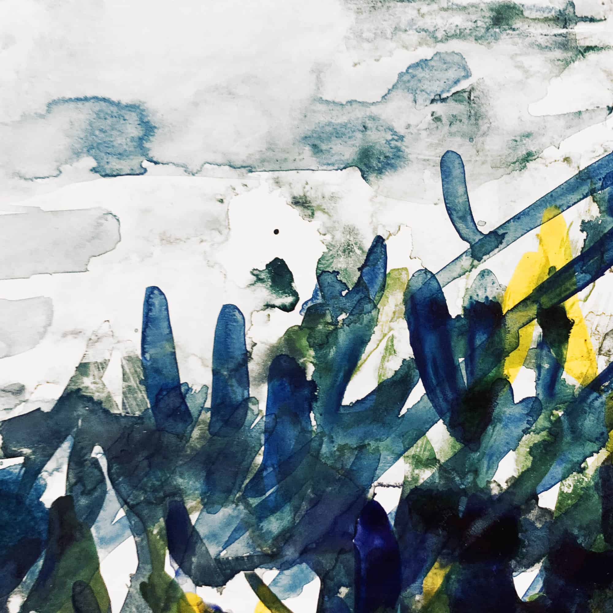 Abstraktes Acrylbild expressive blau grüne Blätter