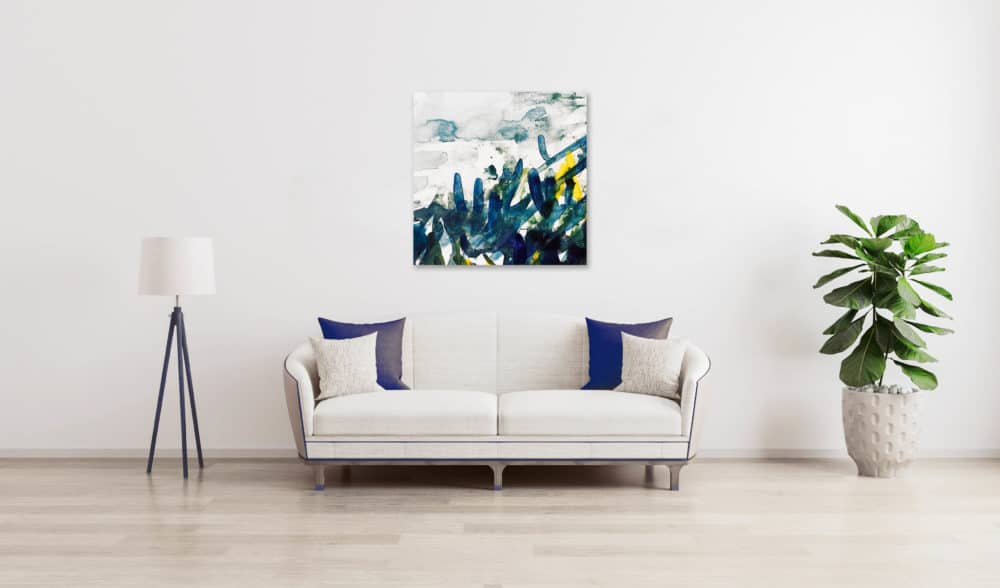 Abstraktes Acrylbild expressive blau grüne Blätter wandbild