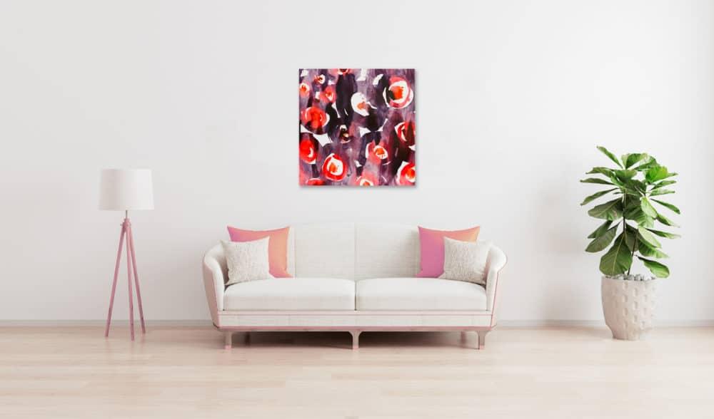 Abstraktes Acrylbild expressive feurige Kreise wandbild