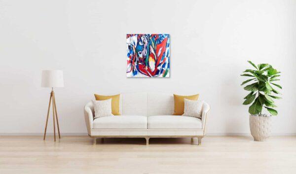 Abstraktes Acrylbild Form der Blüte wandbild