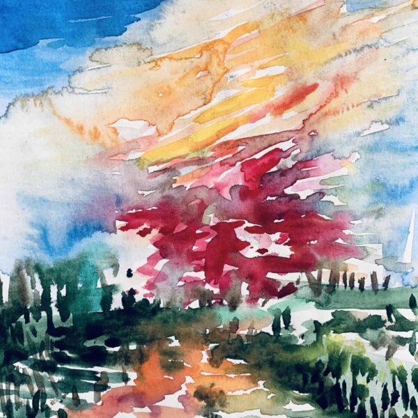 Abstraktes Acrylbild Landschaft mit roter Sonne