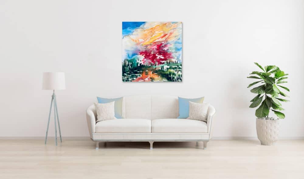 Abstraktes Acrylbild Landschaft mit roter Sonne wandbild