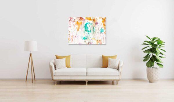 Abstraktes Acrylbild Leichtigkeit und Grün wandbild