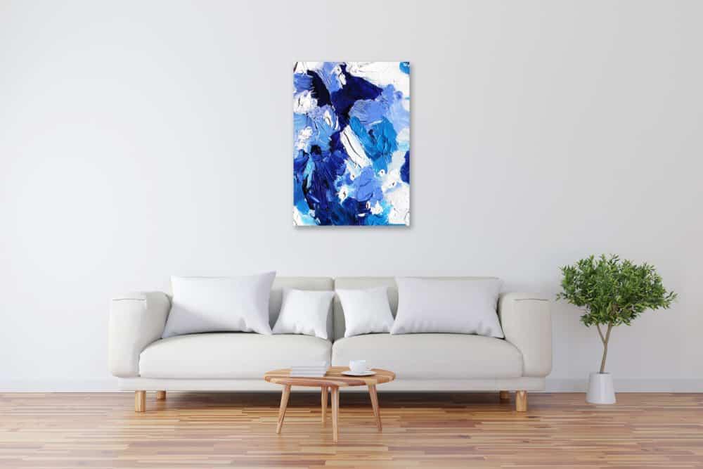 Acryl Gemälde abstrakt blau weiße Flächen bild kaufen