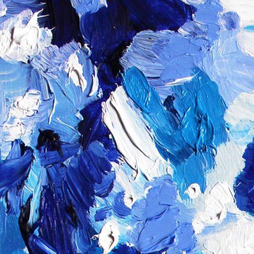 Acryl Gemälde abstrakt blau weiße Flächen