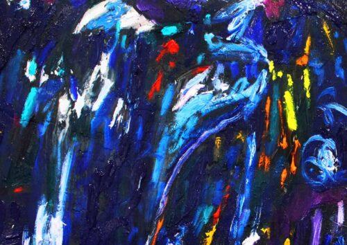 Acryl Gemälde abstrakt dunkel Blau