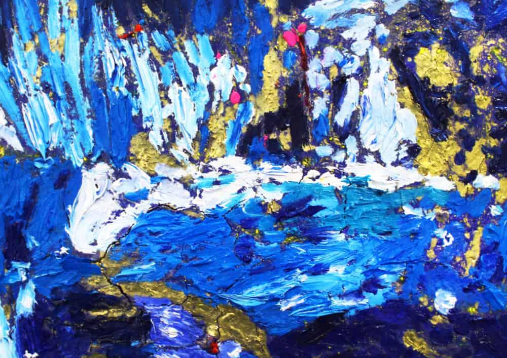 Acryl Gemälde abstrakt Gold Blau