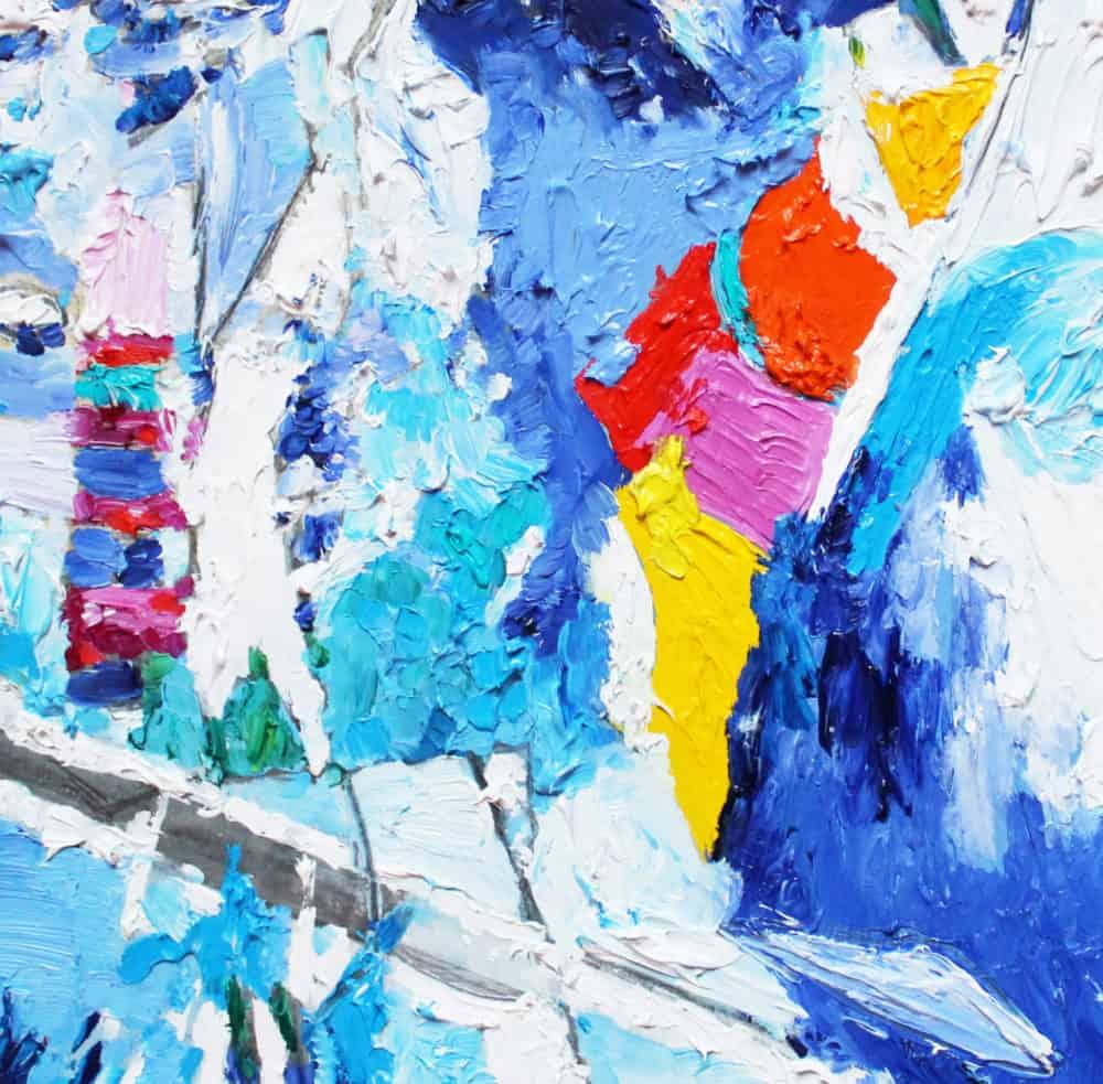 Acryl Gemälde abstrakt mit Rot und Blau