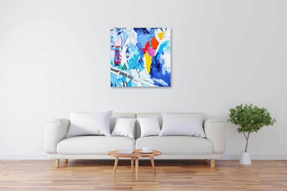 Acryl Gemälde abstrakt mit Rot und Blau bild kaufen