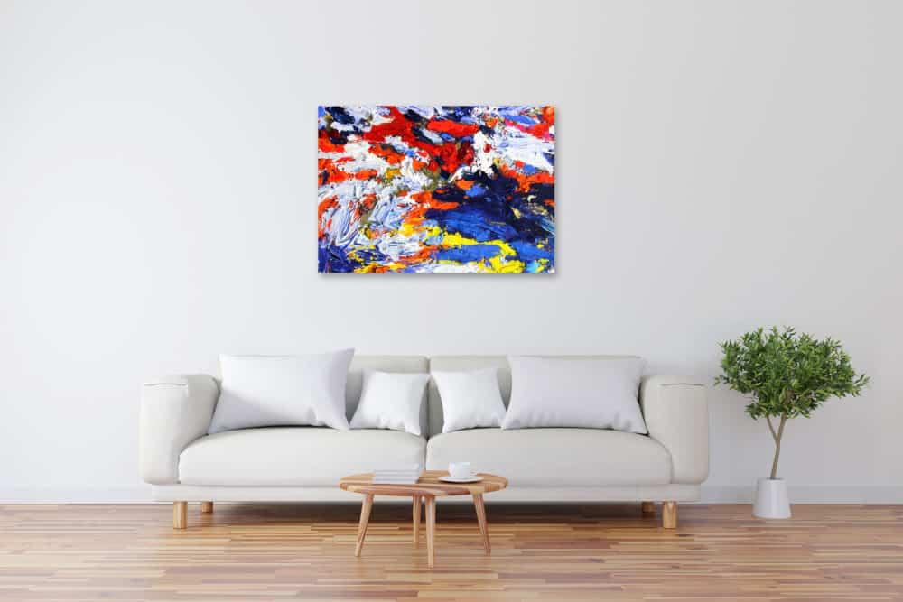 Acryl Gemälde abstrakt Rot Weiß Blau Gelb bild kaufen