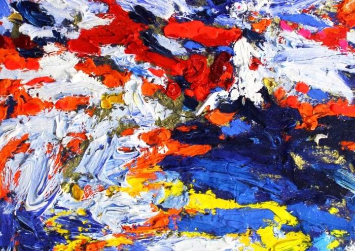 Acryl Gemälde abstrakt Rot Weiß Blau Gelb