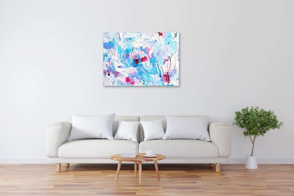 Acryl Gemälde abstrakte Blau Rosa Harmonie bild kaufen