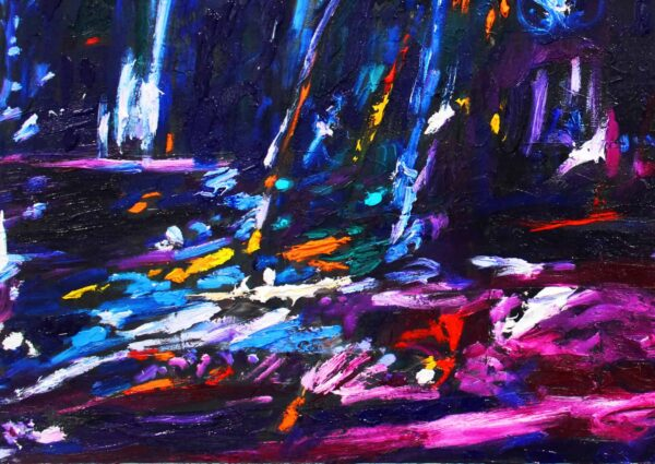 Acryl Gemälde abstrakte blaue Landschaft
