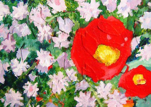 Acryl Gemälde abstrakte Blumen Frühling