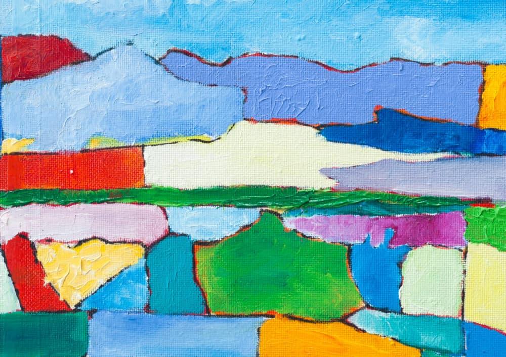 Acryl Gemälde abstrakte bunte Landschaft