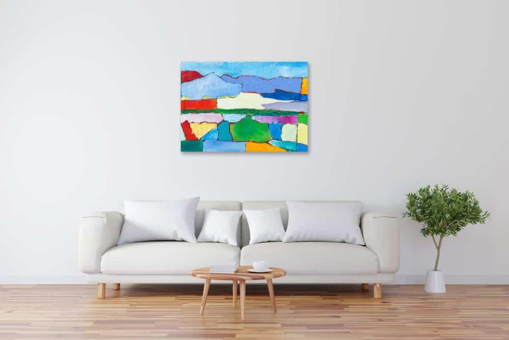 Acryl Gemälde abstrakte bunte Landschaft bild kaufen