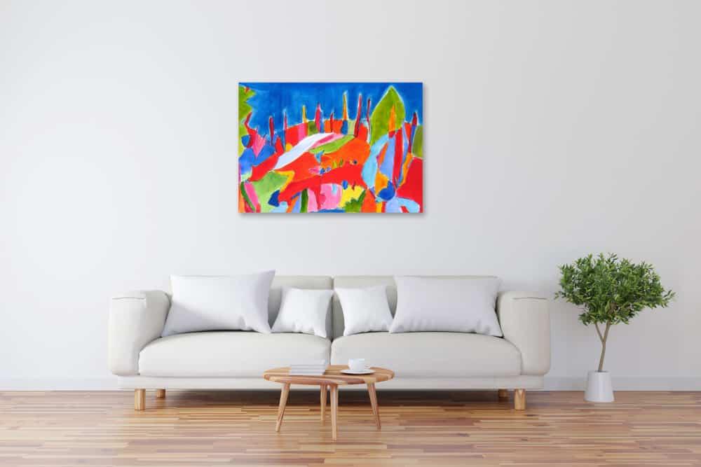 Acryl Gemälde abstrakte farbige Landschaft bild kaufen