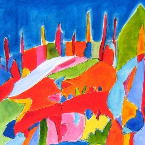 Acryl Gemälde abstrakte farbige Landschaft