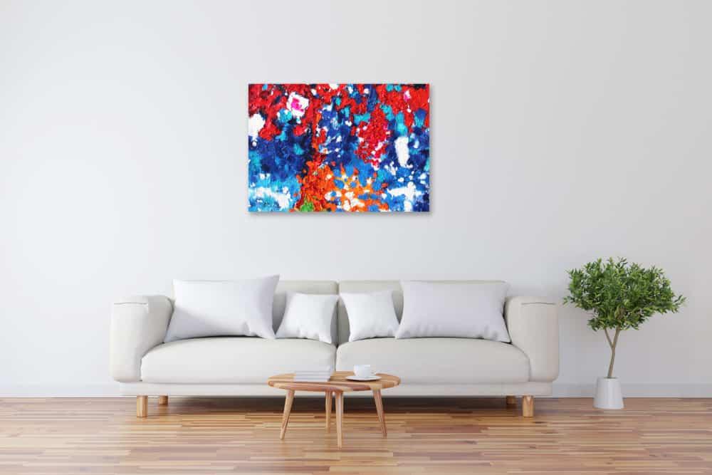 Acryl Gemälde abstrakte farbige Punkte bild kaufen