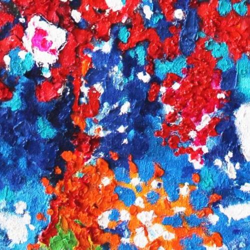 Acryl Gemälde abstrakte farbige Punkte