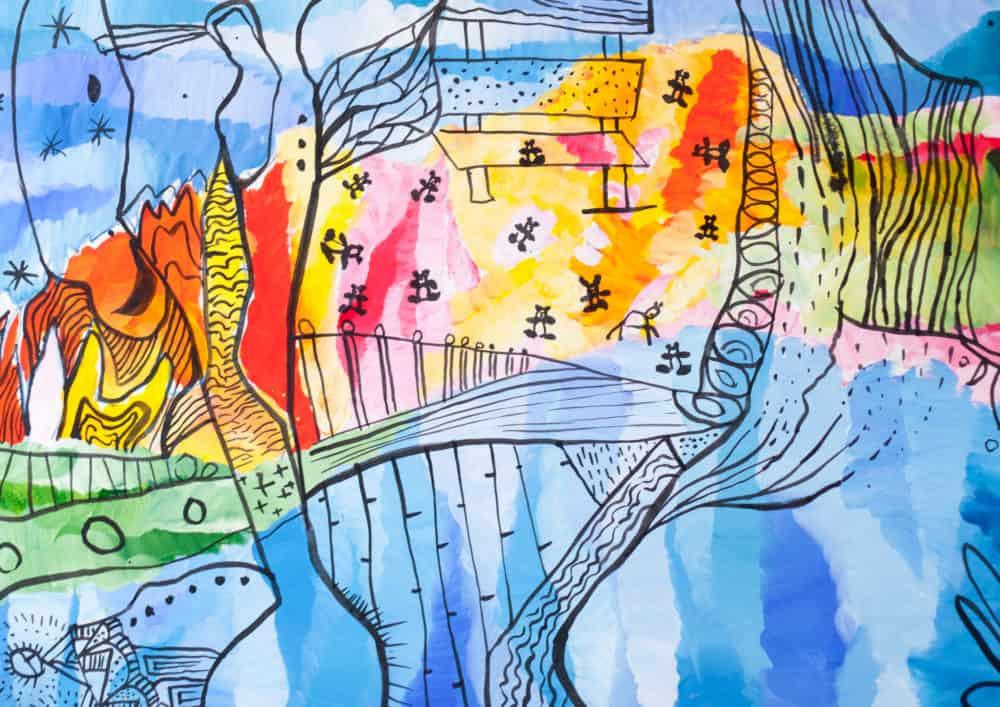 Acryl Gemälde abstrakte freie farbige Landschaft