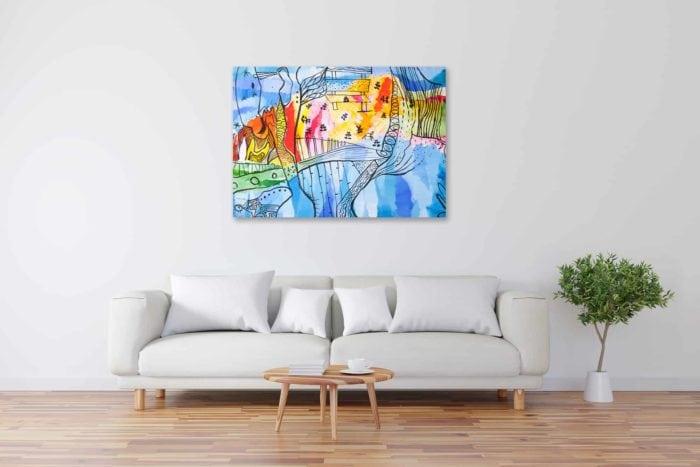 Acryl Gemälde abstrakte freie farbige Landschaft bild kaufen