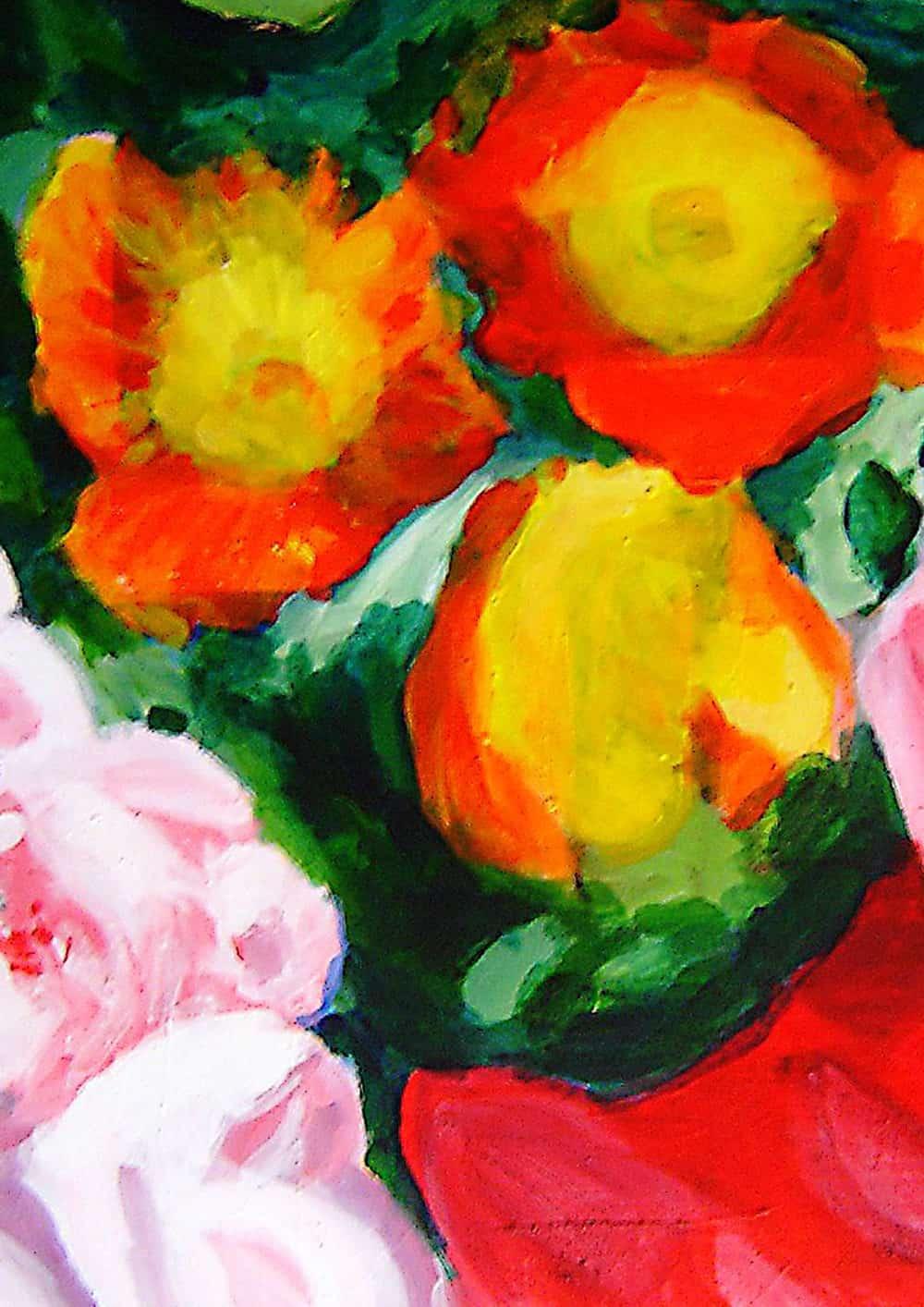 Acryl Gemälde abstrakte gelbe Blumen