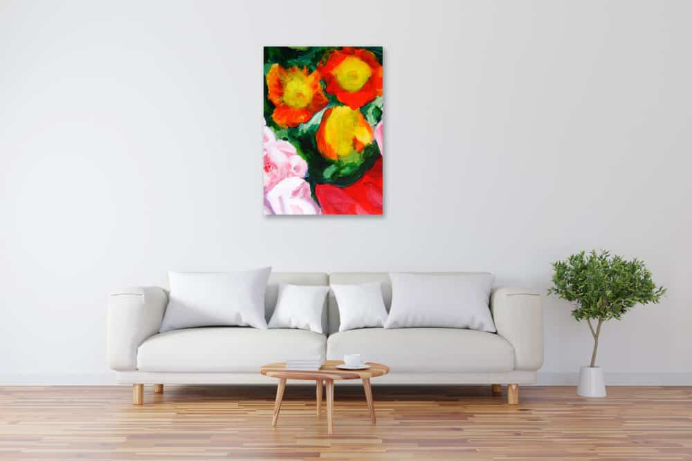Acryl Gemälde abstrakte gelbe Blumen bild kaufen