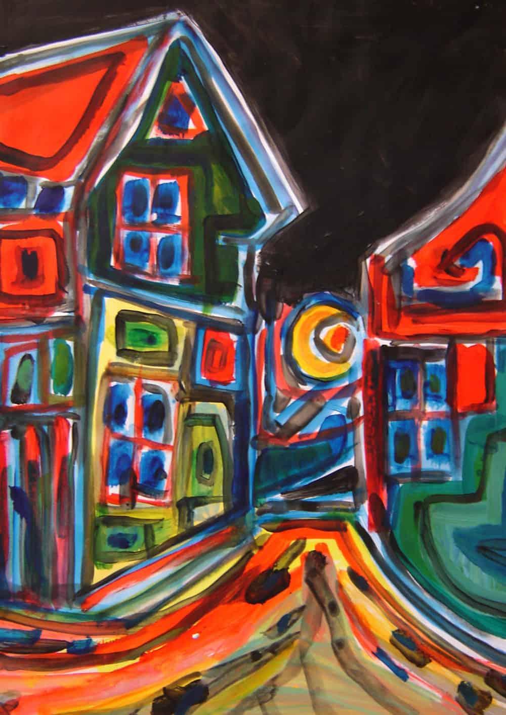 Acryl Gemälde abstrakte Häuser
