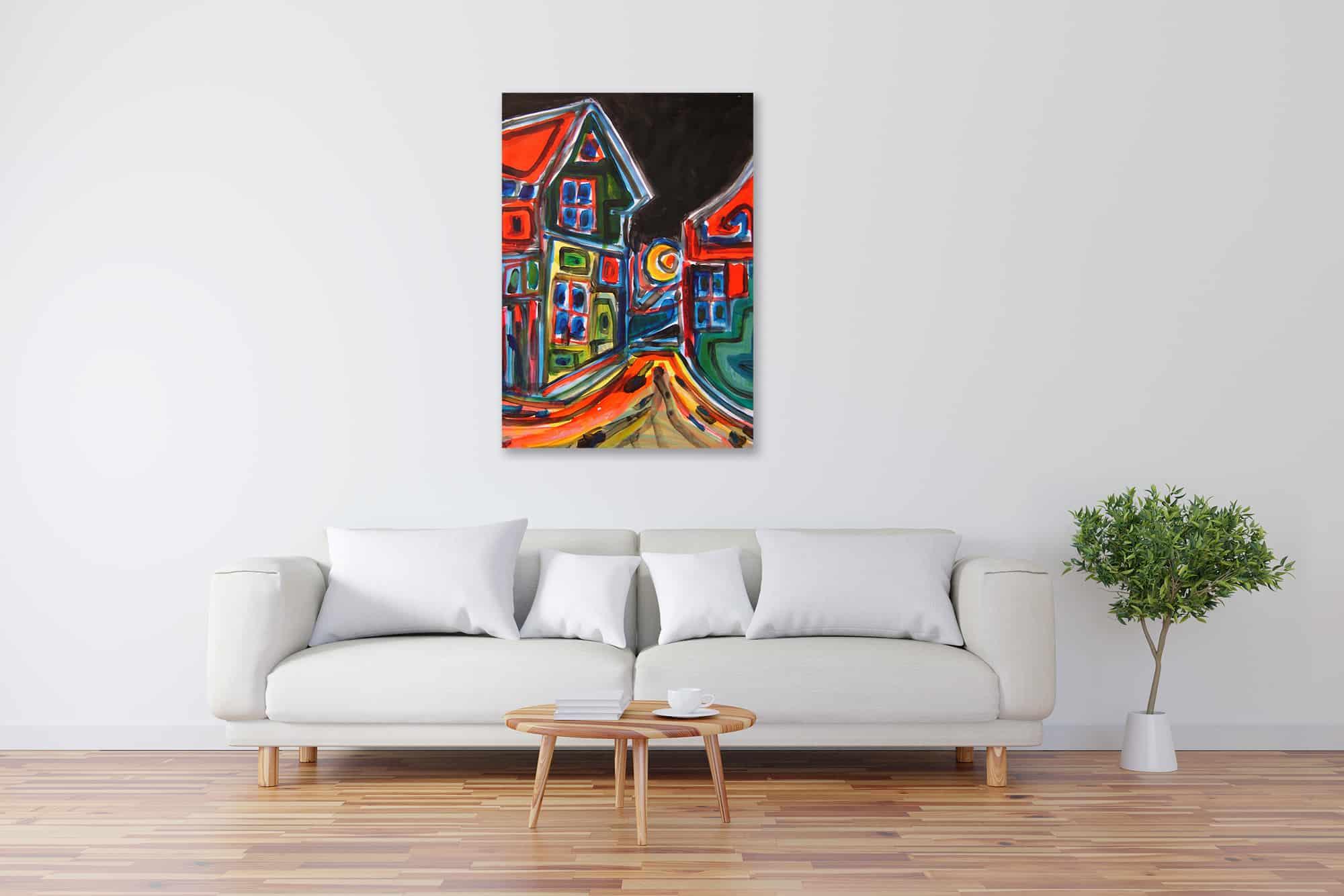 Acryl Gemälde abstrakte Häuser bild kaufen