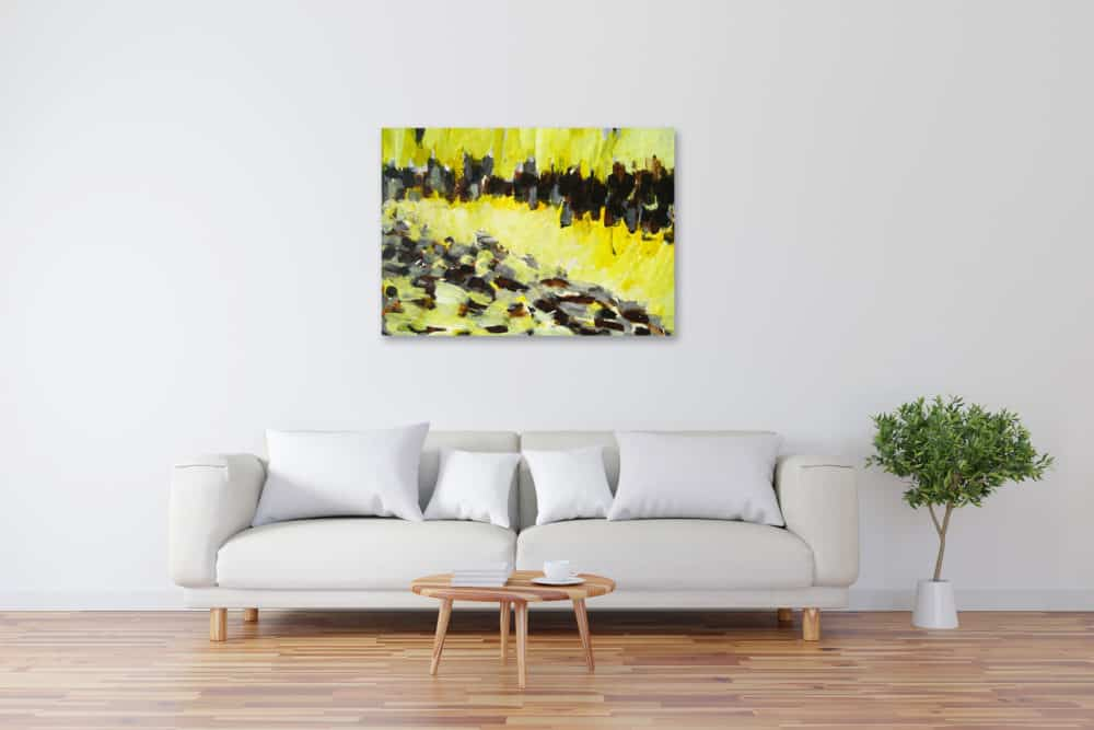 Acryl Gemälde abstrakte Landschaft Gelb Braunbild kaufen