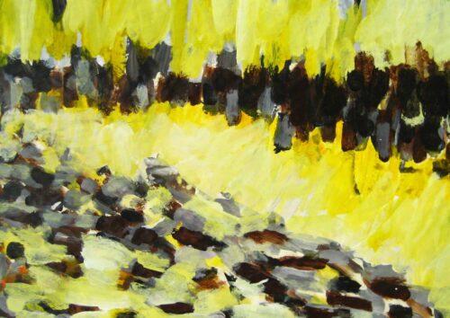 Acryl Gemälde abstrakte Landschaft Gelb Braun