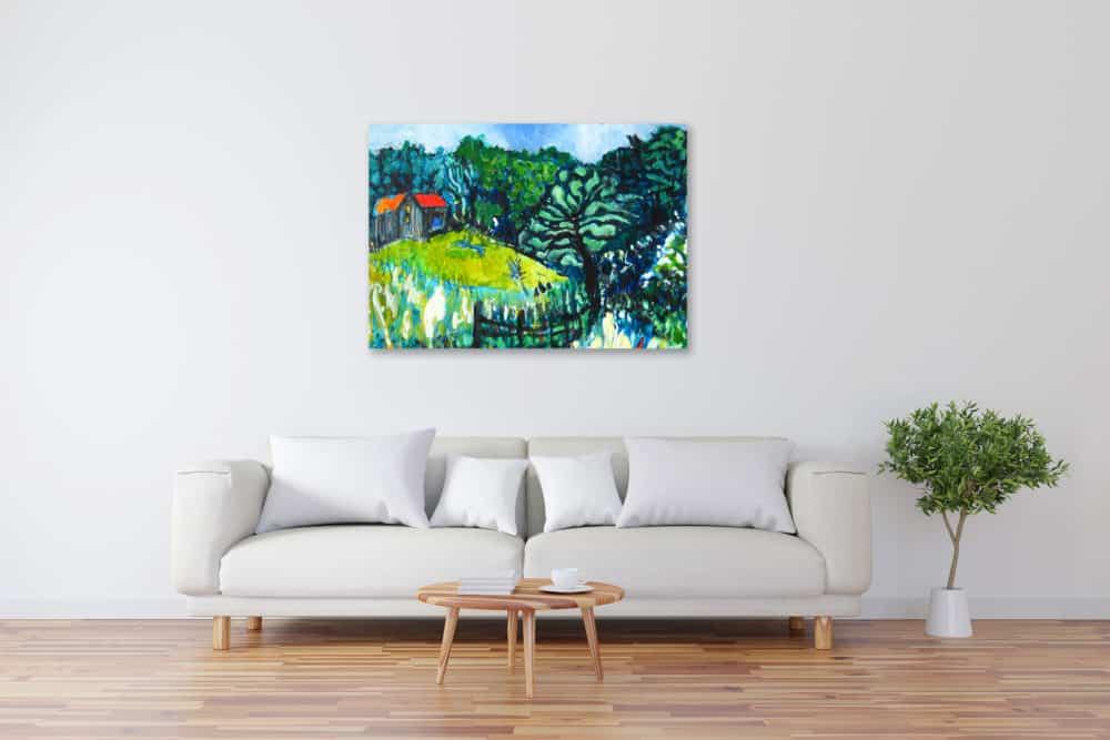 Acryl Gemälde abstrakte Landschaft mit Haus im Wald bild kaufen