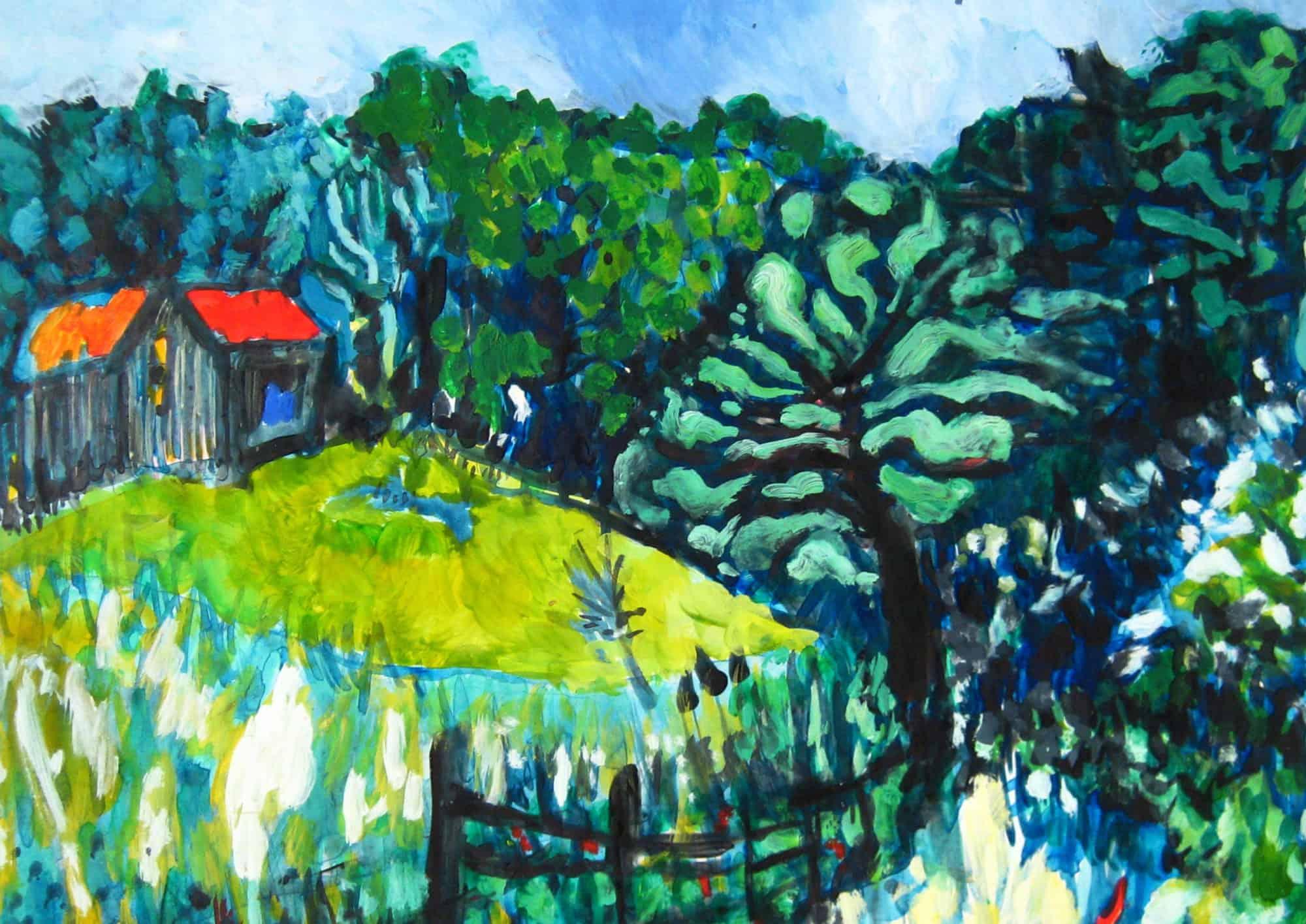 Acryl Gemälde abstrakte Landschaft mit Haus im Wald
