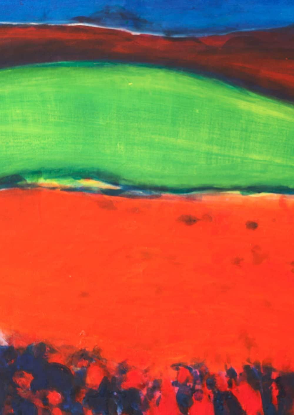 Acryl Gemälde abstrakte Landschaft mit rotem Feld