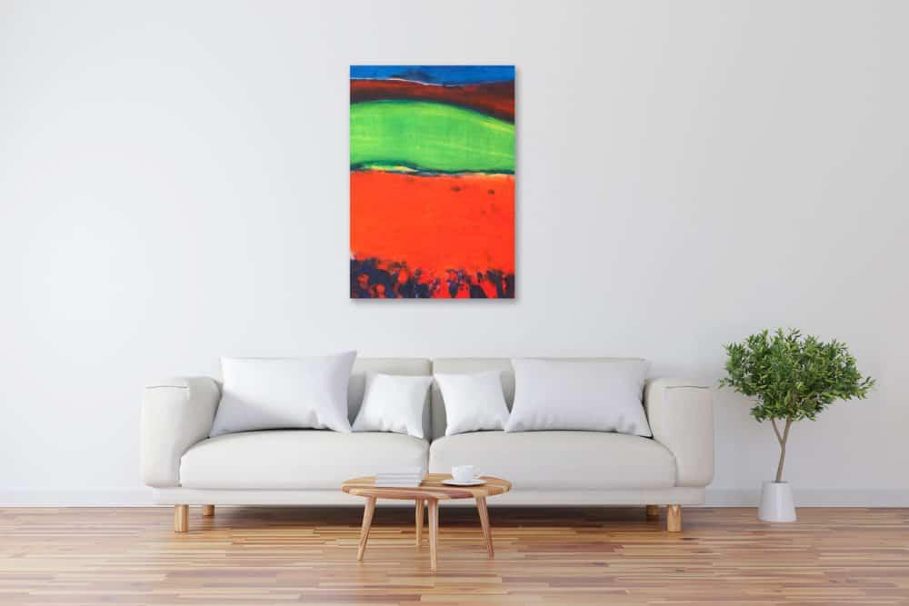 Acryl Gemälde abstrakte Landschaft mit rotem Feld bild kaufen