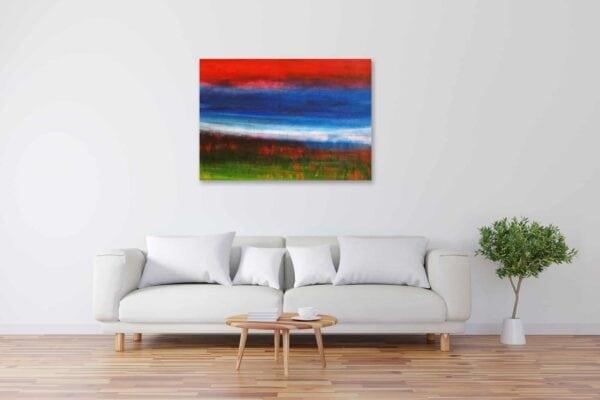 Acryl Gemälde abstrakte Landschaft mit rotem Himmel bild kaufen
