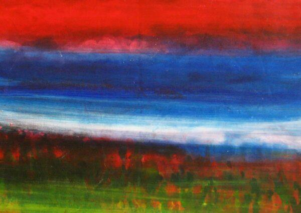 Acryl Gemälde abstrakte Landschaft mit rotem Himmel