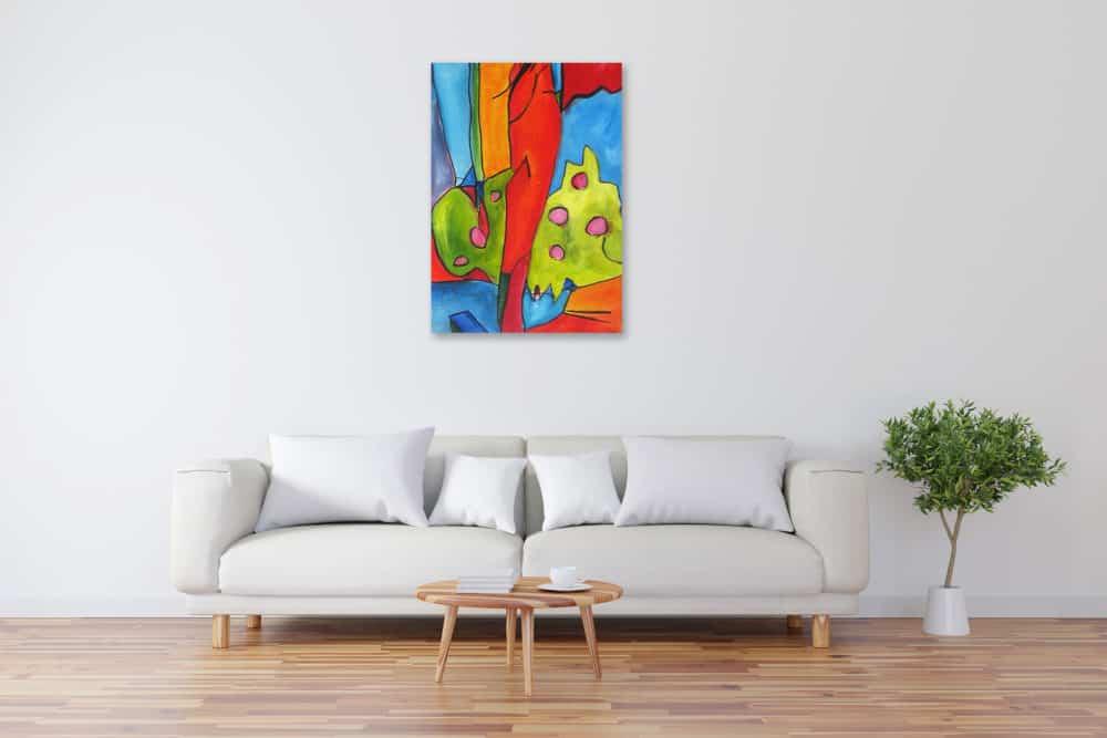 Acryl Gemälde abstrakte Pflanze mit Früchten bild kaufen
