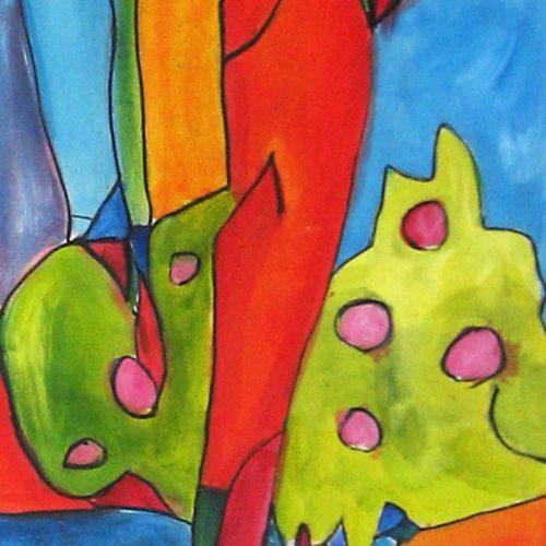 Acryl Gemälde abstrakte Pflanze mit Früchten