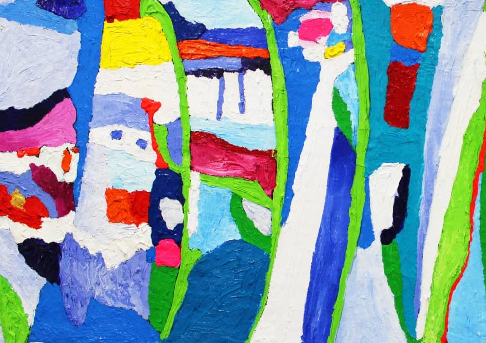 Acryl Gemälde abstrakte Pflanzen mit farbigen Flächen