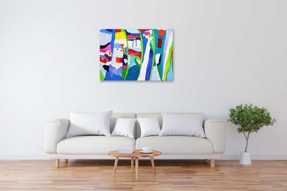 Acryl Gemälde abstrakte Pflanzen mit farbigen Flächen bild kaufen