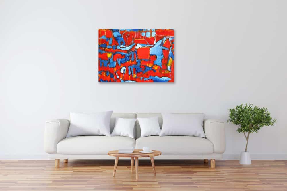 Acryl Gemälde abstrakte rote blaue Flächen bild kaufen