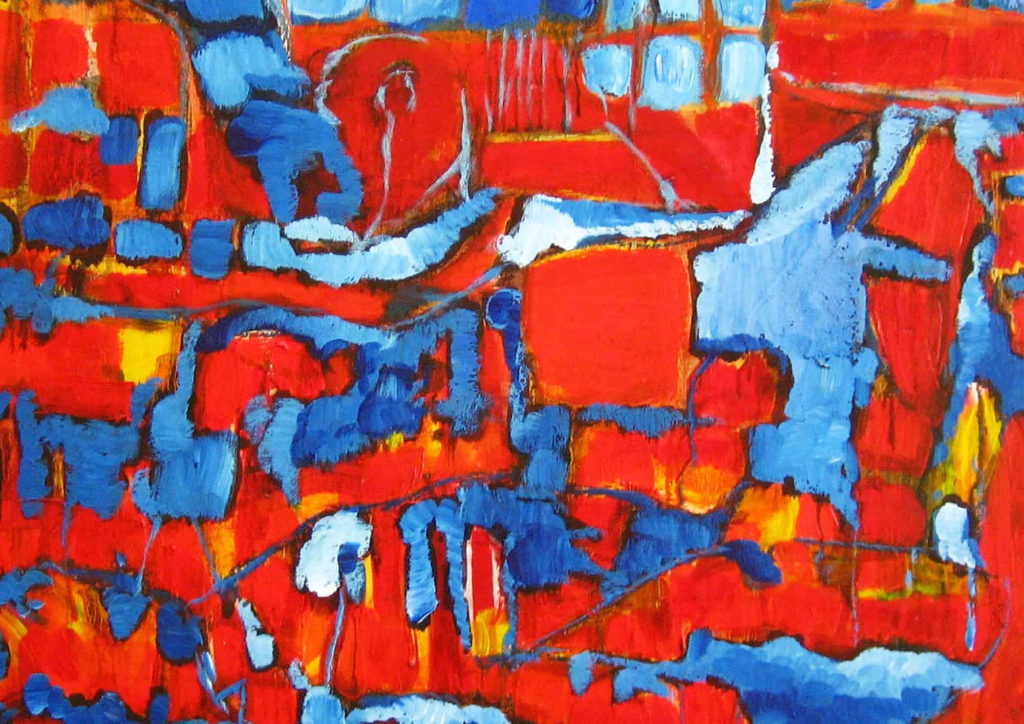 Acryl Gemälde abstrakte rote blaue Flächen