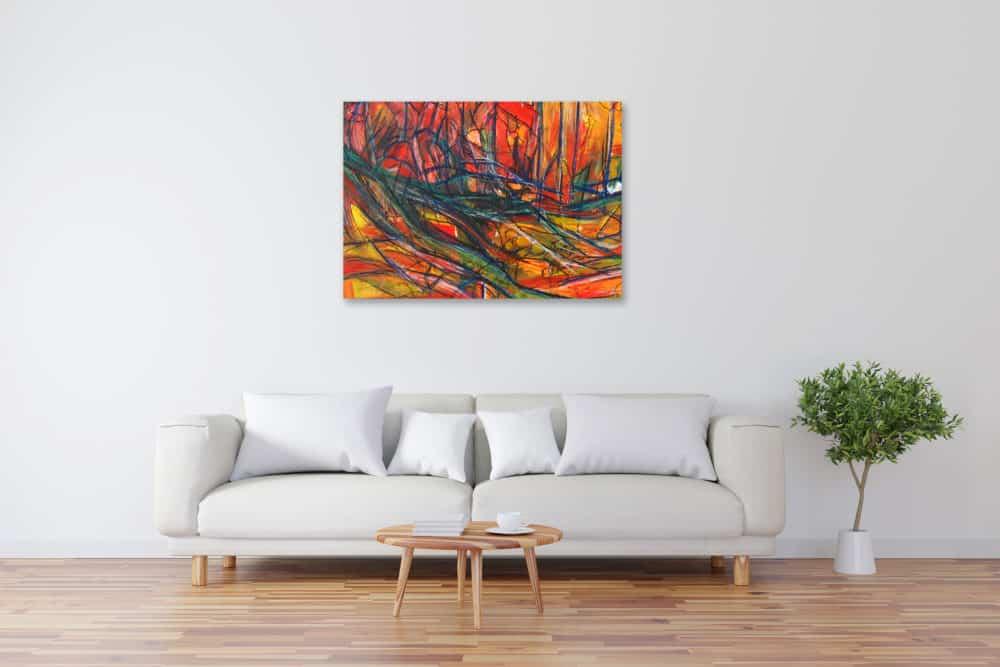 Acryl Gemälde abstrakte rote Landschaft mit Linien bild kaufen