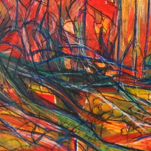 Acryl Gemälde abstrakte rote Landschaft mit Linien