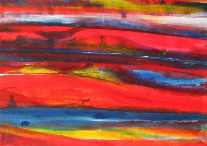 Acryl Gemälde abstrakte rote Landschaft
