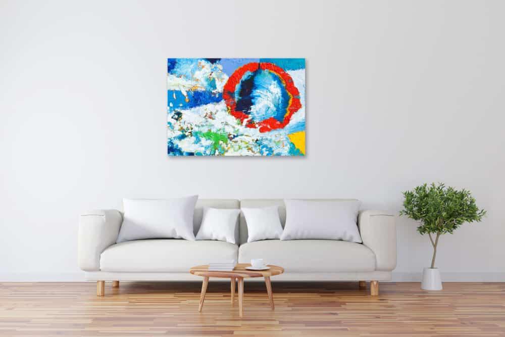 Acryl Gemälde abstrakte rote Sonne im Himmel bild kaufen