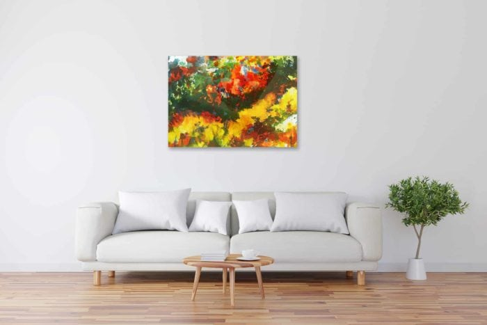 Acryl Gemälde abstrakte stark farbige Wiese bild kaufen