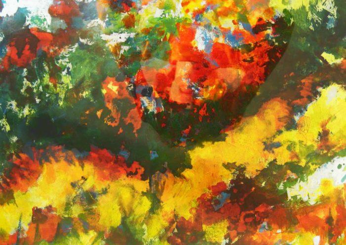 Acryl Gemälde abstrakte stark farbige Wiese